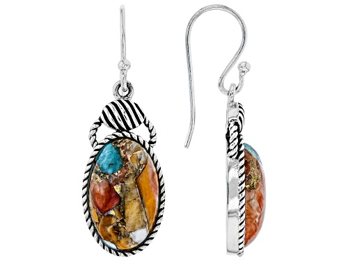 Photo of Southwest Style By JTV™ Blended Turquoise and Spiny Oyster Shell Rhodium Over Silver Earrings