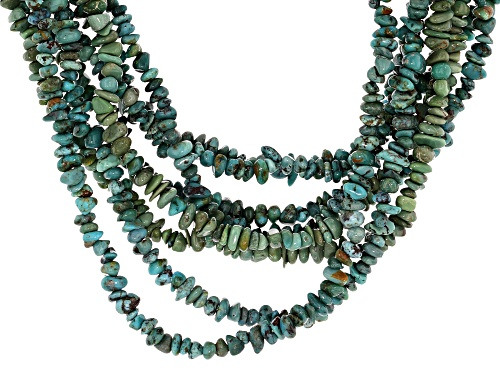 Photo of Southwest Style By JTV™ 3-4MM Blue Turquoise Chips Rhodium Over Sterling Silver 8 Strand Necklace - Size 17
