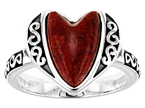 Southwest Style By JTV™ 12X8mm Heart Shape Red Coral Rhodium Over Sterling Silver Ring - Size 9