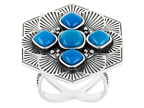 Photo of Southwest Style By Jtv™ Square Cushoin Cabochon Sleeping Beauty Turquoise Silver Ring - Size 6