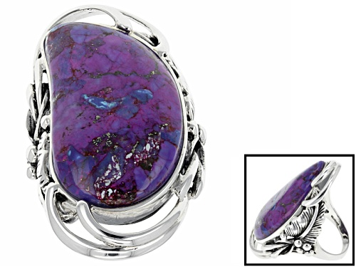 Photo of Southwest Style By Jtv™ Fancy Cabochon Purple Turquoise Solitaire Sterling Silver Ring - Size 6