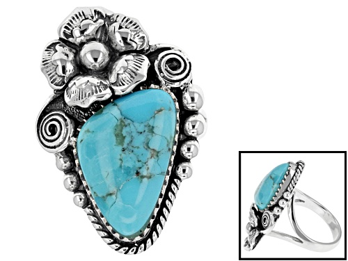 Photo of Southwest Style By Jtv™ Fancy Cabochon Turquoise Sterling Silver Floral Ring - Size 5