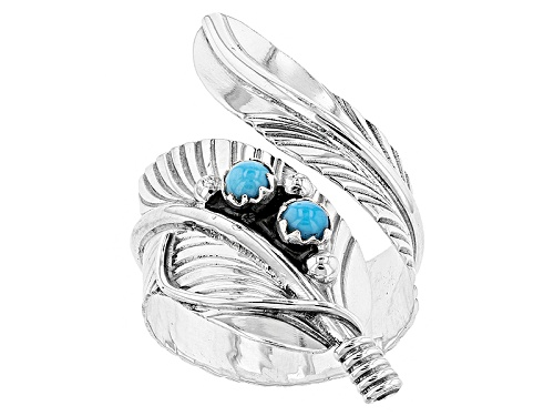 Photo of Southwest Style By Jtv™ Round Cabochon Sleeping Beauty Turquoise Silver Feather Bypass Ring - Size 5