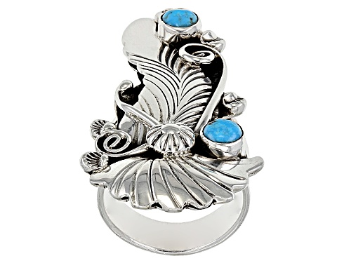 Photo of Southwest Style By Jtv™ Round Blue Turquoise Sterling Silver Ring - Size 6