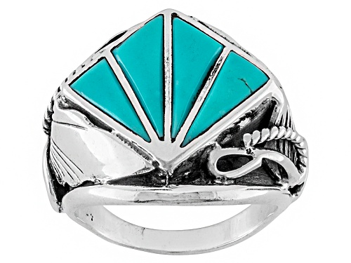 Photo of Southwest Style By Jtv™ Mixed Shapes Inlay Turquoise Sterling Silver Ring - Size 6