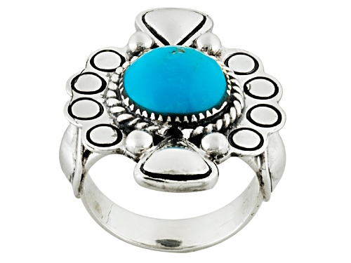 Photo of Southwest Style By Jtv™ 11mm Round Cabochon Blue Turquoise Sterling Silver Solitaire Ring - Size 6