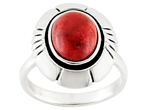 Photo of Southwest Style By Jtv™ Oval Cabochon Red Coral Sterling Silver Solitaire Ring - Size 5
