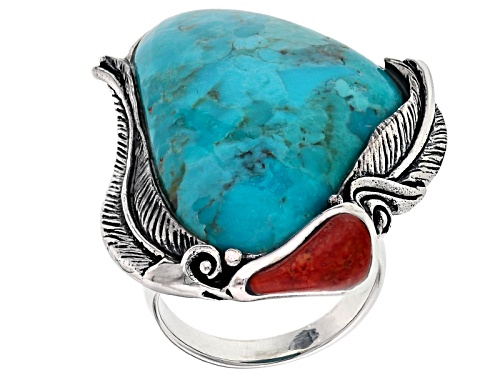 Photo of Southwest Style By Jtv™ Fancy Shape Turquoise And Red Sponge Coral Silver Ring - Size 6