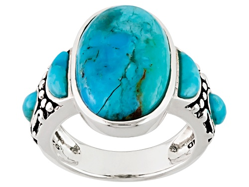 Photo of Southwest Style By Jtv™ Oval And Crescent Shape Cabochon Blue Turquoise Sterling Silver Ring - Size 5