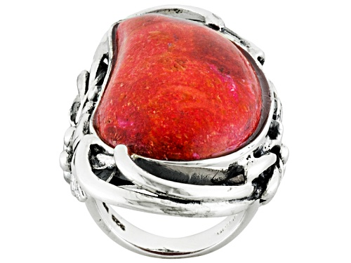 Photo of Southwest Style By Jtv™ 30x17mm Fancy Cabochon Red Sponge Coral Sterling Silver Ring - Size 4