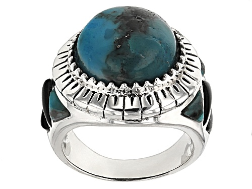 Photo of Southwest Style By Jtv™ Mixed Shapes Turquoise And Trillion Black Onyx Sterling Silver Ring - Size 5