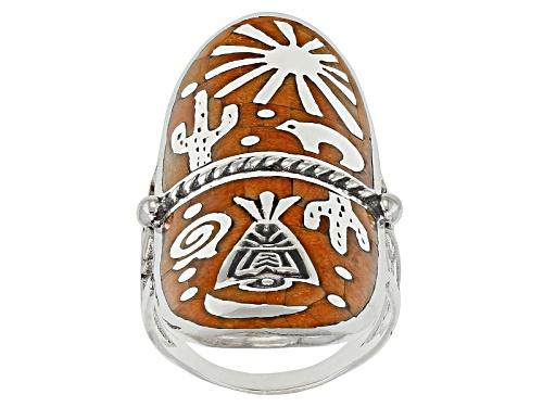 Photo of Southwest Style By Jtv™ Mixed Shapes Orange Spiny Oyster Shell Sterling Silver Inlay Ring - Size 5