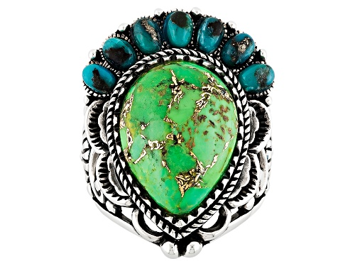 Photo of Southwest Style By Jtv™ Pear Shape Green And Oval Blue Turquoise Sterling Silver Ring - Size 5