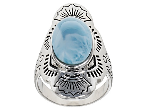 Photo of Southwest Style By Jtv™ Oval Cabochon Larimar Sterling Silver Solitaire Ring - Size 8