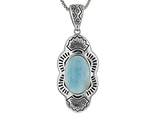 Photo of Southwest Style By Jtv™ Oval Cabochon Larimar Sterling Silver Pendant With Chain
