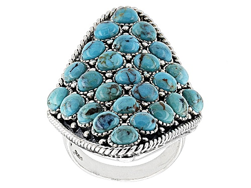 Photo of Southwest Style By Jtv™ 4mm Round Cabochon Turquoise Sterling Silver Cluster Ring - Size 6