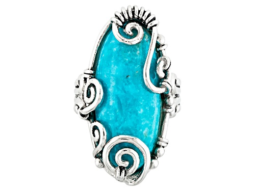 Photo of Southwest Style By Jtv™ 26x12mm Oval Turquoise Sterling Silver Solitaire Ring - Size 5