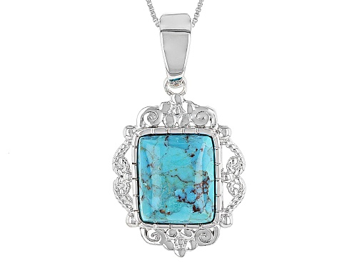 Photo of Southwest Style By Jtv™ Rectangular Cushion Blue Turquoise Sterling Silver Enhancer With Chain