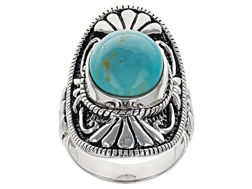 Photo of Southwest Style By Jtv™ 14x11mm Oval Cabochon Turquoise Sterling Silver Soitaire Ring - Size 7