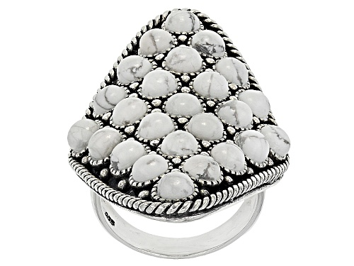 Photo of Southwest Style By Jtv™ 4mm Round Cabochon White Magnesite Sterling Silver Cluster Ring - Size 5