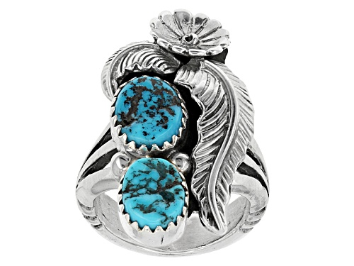 Photo of Southwest Style By Jtv™ Oval Sleeping Beauty Turquoise Sterling Silver  Ring - Size 6