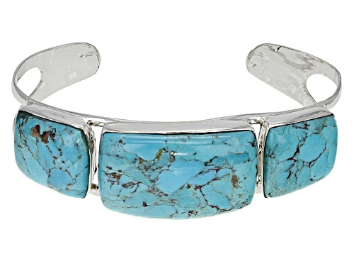 Photo of Southwest Style By Jtv™ Rectangular Cushion And Fancy Shape Kingmanturquoise Silver Cuff Bracelet - Size 8