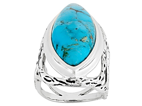 Photo of Southwest Style By Jtv™ 32x12.5mm Marquise Turquoise Sterling Silver Solitaire Ring - Size 5