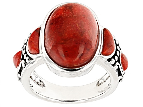 Photo of Southwest Style By Jtv™ Oval And Crescent Shape Red Sponge Coral Sterling Silver Ring - Size 5