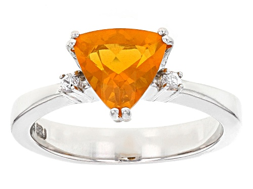 Photo of .96ct Trillion Brazilian Fire Opal And .05ctw Round White Zircon Sterling Silver Ring - Size 9
