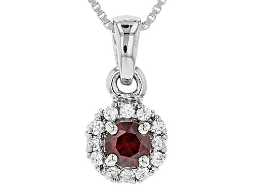 Photo of .29ct Round Anthill Garnet And .21ctw Round White Zircon Sterling Silver Pendant With Chain