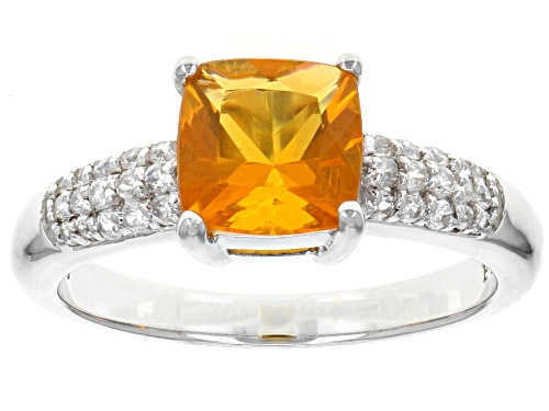 Photo of .80ct Square Cushion Orange Fire Opal And .20ctw Round White Zircon Sterling Silver Ring - Size 8