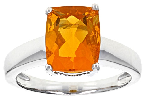 Photo of 1.65ct Rectangular Cushion Brazilian Fire Opal Solitaire Sterling Silver Ring   Web Only - Size 7