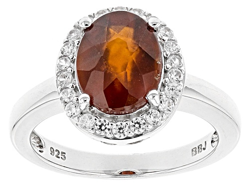 Photo of 2.77ct Oval Hessonite Garnet And .39ctw Round White Zircon Sterling Silver Ring  Web Only - Size 7