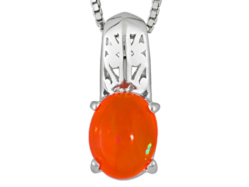 Photo of .91ct Oval Orange Ethiopian Opal Sterling Silver Solitaire Pendant With Chain