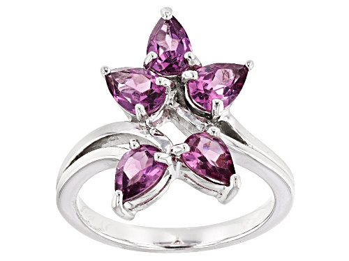 Photo of 1.95ctw Pear Shape Raspberry Color Rhodolite Sterling Silver 5-Stone Ring - Size 7