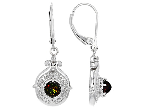 Photo of .50ctw Round Black Ethiopian Opal Sterling Silver Solitaire Dangle Earrings
