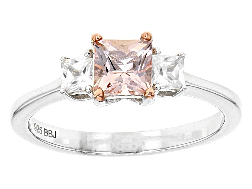 Photo of .45ct Princess Cut Morganite And .44ctw Square White Zircon Sterling Silver Ring - Size 8