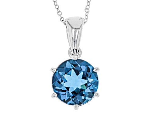 Photo of 6.54ct Round London Blue Topaz Sterling Silver Solitaire Pendant With Chain