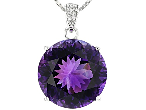 Photo of 10.84ct Round Moroccan Amethyst With .03ctw White Diamond Accent Silver Pendant With Chain