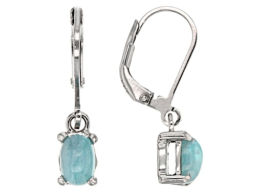 Photo of .85ctw Oval Cabochon Brazilian Paraiba Tourmaline Solitaire Sterling Silver Dangle Earrings