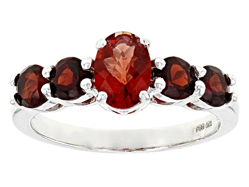 Photo of .60ct Oval Checkerboard Red Labradorite With 1.36ctw Round Vermelho Garnet™ Silver Ring - Size 8