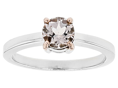 .56ct Round Pink Morganite Sterling Silver Solitaire Ring - Size 9