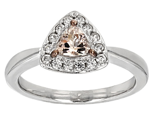 Photo of .33ct Trillion Pink Morganite With .25ctw Round White Zircon Sterling Silver Ring - Size 8