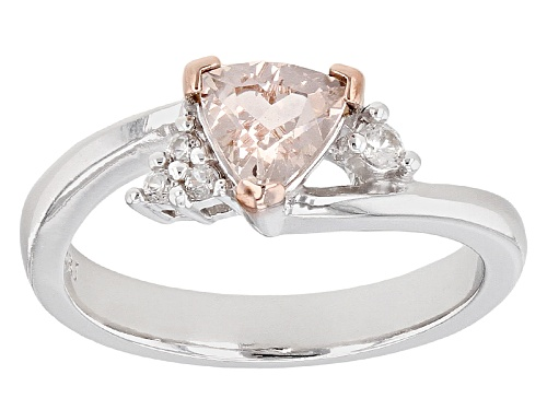 Photo of .53ct Trillion Pink Morganite With .06ctw Round White Zircon Sterling Silver Ring - Size 8