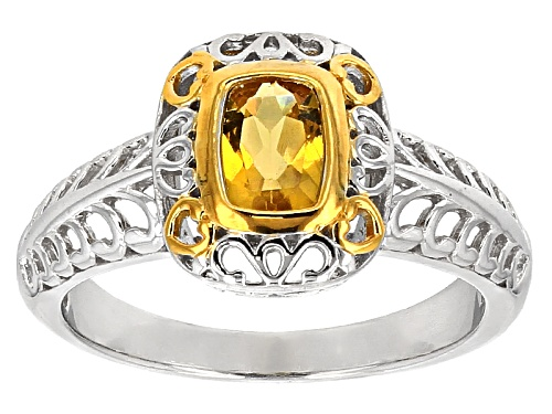 Photo of .69ct Rectangular Cushion Heliodor Two-Tone Sterling Silver Solitaire Ring - Size 9