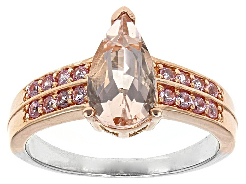 Photo of 1.27ct Pear Shape Pink Morganite And .30ctw Round Pink Sapphire Two-Tone Silver Ring - Size 7