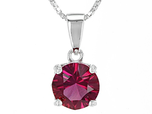 Photo of 1.40ct Round Lab Created Bixbite Solitaire Sterling Silver Pendant With Chain