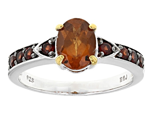 Photo of 1.35ct Oval Hessonite Garnet And .32ctw Round Vermelho Garnet™ Silver Ring - Size 8