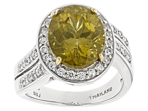 Photo of 4.14ct Oval Canary Apatite With .54ctw Round White Topaz Sterling Silver Ring - Size 8