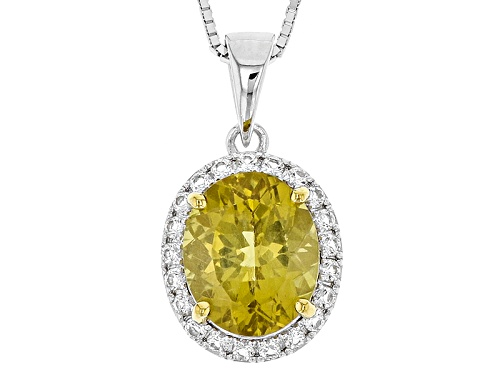 Photo of 2.90ct Oval Canary Apatite With .33ctw Round White Topaz  Silver Pendant With Chain